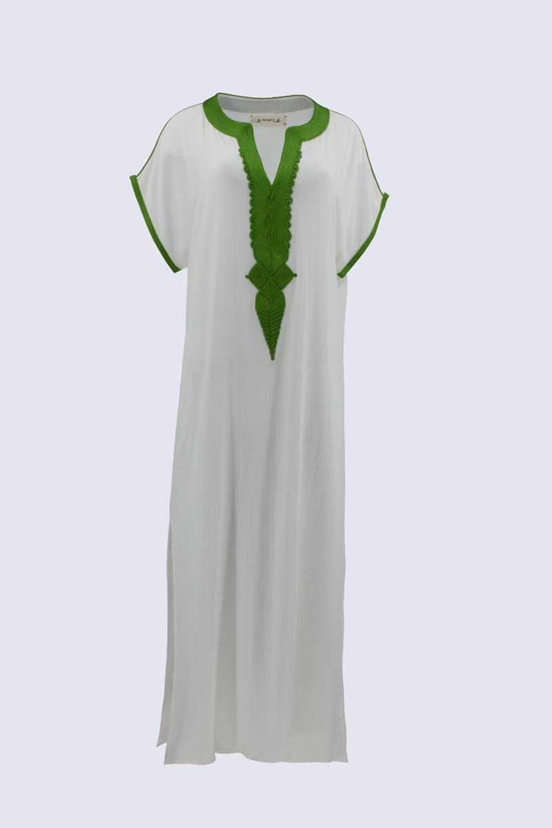 Caftán Santorini Blanco/Verde.